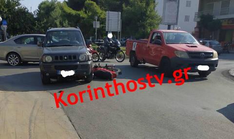 Κόρινθος: Σφοδρή σύγκρουση Ι.Χ με δίκυκλο – Ένας τραυματίας