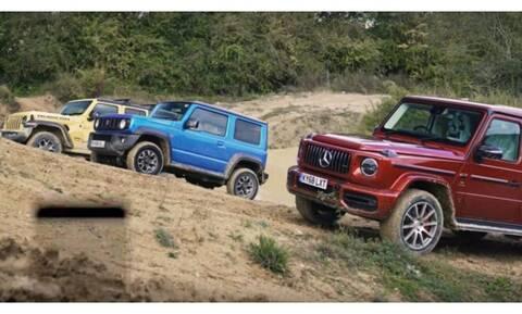 Ποιο είναι ο βασιλιάς εκτός δρόμου; H θηριώδης Mercedes G-Class, το μικρό Jimny ή το νέο Wrangler;