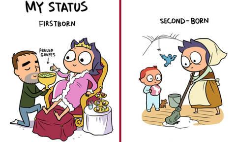 Ξεκαρδιστικά σκίτσα δείχνουν τις διαφορές ανάμεσα στο 1ο και το 2ο παιδί (pics)