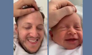 Μπαμπάς αντιγράφει τις εκφράσεις της νεογέννητης κόρης του και ρίχνει το διαδίκτυο (vid)