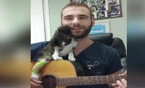Γιατρεύει και ηρεμεί τα ζωάκια με την κιθάρα και τη φωνή του (videos)