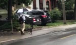 Απίστευτο! Βγήκε βόλτα με το σκύλο του - «Χάζεψαν» όλοι όταν τον είδαν (vid)