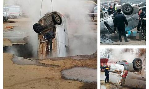 Ρωσία: Έπεσαν με το αυτοκίνητο σε αγωγό καυτού νερού και εγκλωβίστηκαν -Εικόνες-σοκ από το δυστύχημα