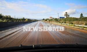 Κακοκαιρία «Γηρυόνης»: Κλειστή η Εθνική Οδός Αθηνών - Κορίνθου (pics)