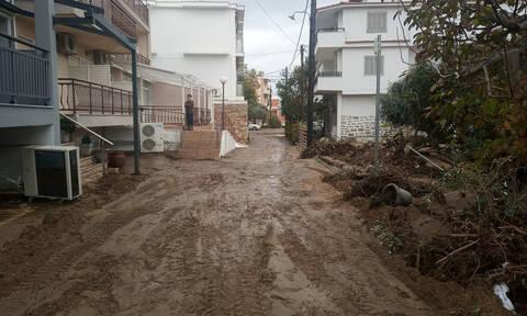 Θεομηνία στη Θάσο: Ποτάμια οι δρόμοι, πλημμυρισμένα σπίτια, εγκλωβισμένοι (vids)