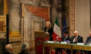 Ομιλία της Μαριάννας Βαρδινογιάννη στην Ιταλική Γερουσία
