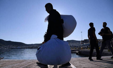 «Diagoras» ferry boat with migrants and refugees arrive at Piraeus port
