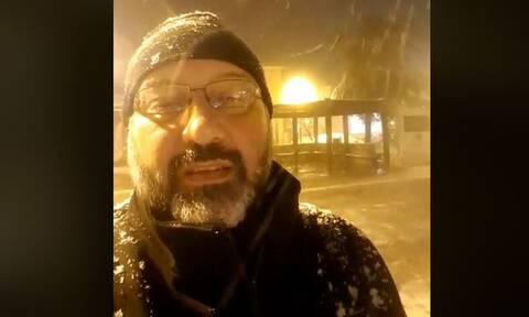 Καιρός: Το πρώτο χιόνι στη Θεσσαλονίκη και η live μετάδοση του Σάκη Αρναούτογλου (Video)