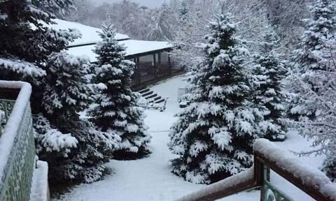 А снег идет. В Грецию пришла зима