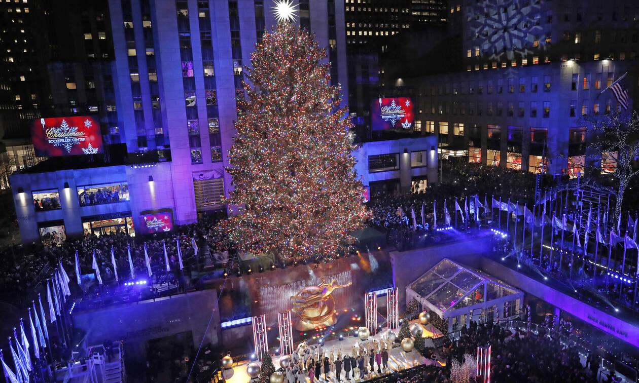 Χριστούγεννα 2019: Η φαντασμαγορική φωταγώγηση του χριστουγεννιάτικου δέντρου Ροκφέλερ
