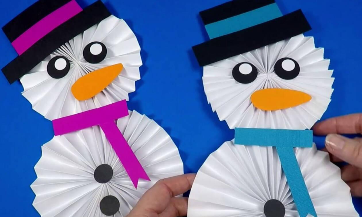 Δείτε με πόσους τρόπους μπορείτε να φτιάξετε χάρτινο χιονάνθρωπο (vids)