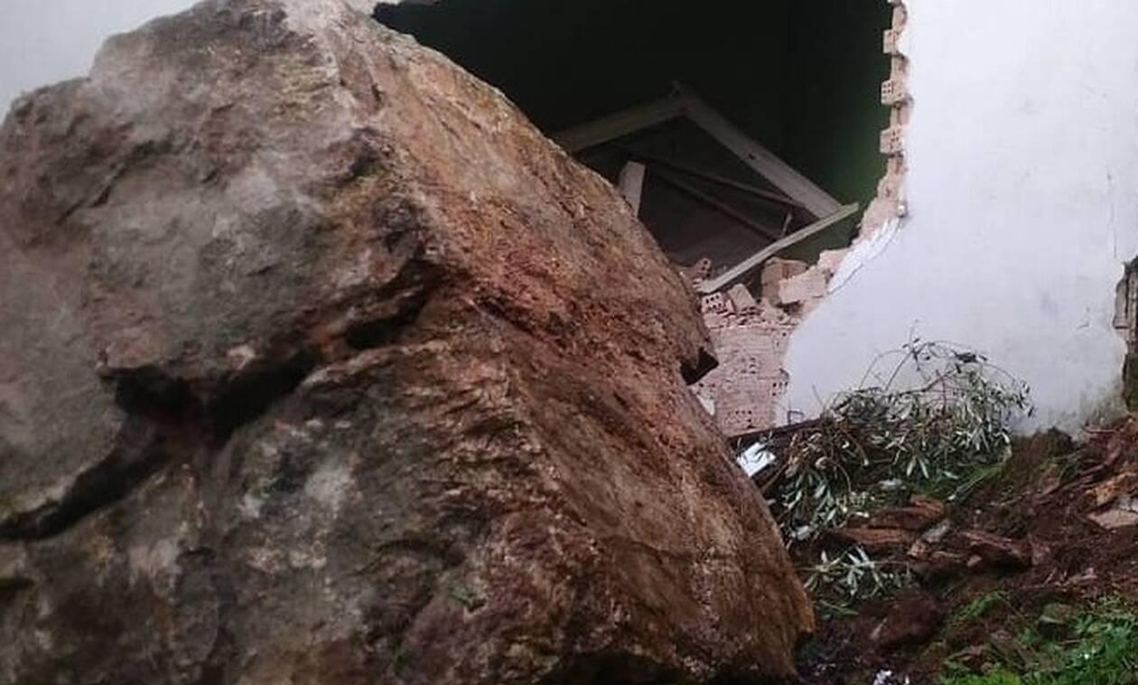 Τρόμος στην Άρτα: Βράχος αποκολλήθηκε από βουνό και διέλυσε σπίτι (pics)