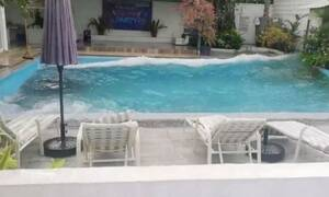 Τρομακτικό βίντεο: Τσουνάμι σε... πισίνα από τον ισχυρό σεισμό στις Φιλιππίνες (vid)