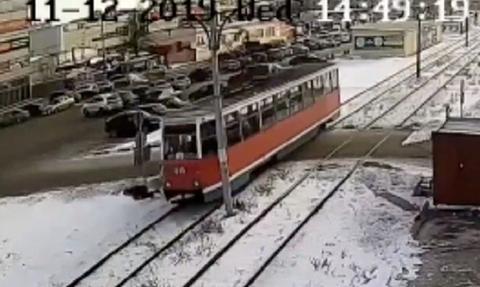 Σκληρές εικόνες! Πέρασε τις γραμμές και ξαφνικά γυρίζει πίσω ενώ ερχόταν το τραμ... (Video)