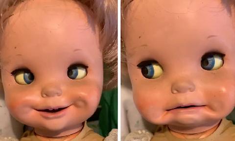 Βρήκε μια παλιά κούκλα στα σκουπίδια! Επαθε πλάκα όταν διαπίστωσε πως... (video)
