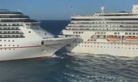 Βίντεο που κόβει την ανάσα: Σύγκρουση κρουαζιερόπλοιων στο Μεξικό