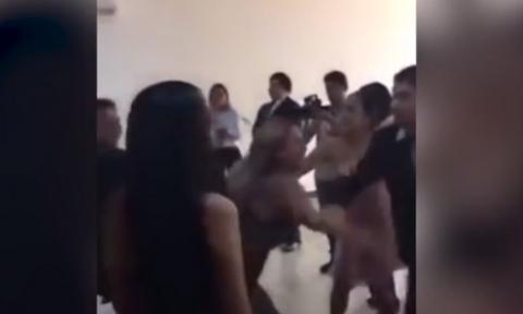 Πανικός σε γάμο: Πήγε η πρώην του γαμπρού και χτύπησε τη νύφη (video)