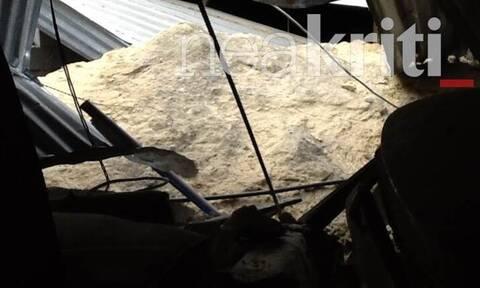 Πανικός στο Ηράκλειο: Τεράστιος βράχος έπεσε σε υπόστεγο - Γλίτωσαν από θαύμα (pics)