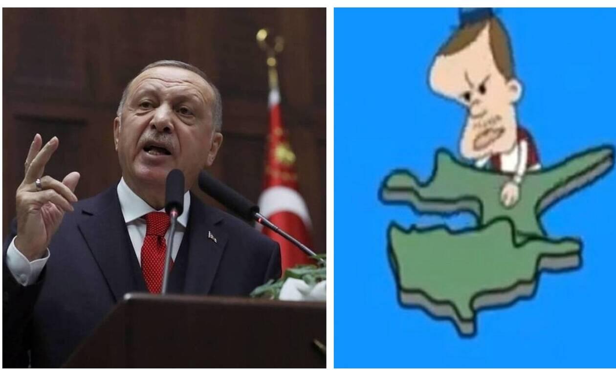Γελοία προπαγάνδα των Τούρκων: Ο Ερντογάν ως καρτούν ξεριζώνει κομμάτι της Κύπρου