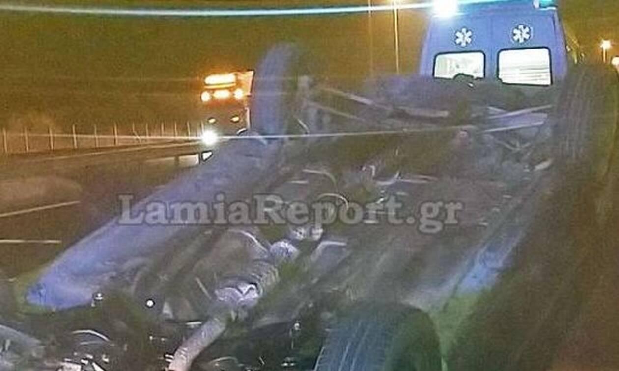 Σοκαριστικές εικόνες από τροχαίο στη Φθιώτιδα - Αμάξι αναποδογύρισε στην Eθνική Oδό