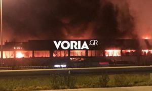 Εθνική Οδός Θεσσαλονίκης - Αθηνών: Μεγάλη φωτιά σε εταιρεία γεωργικών μηχανημάτων (vid)