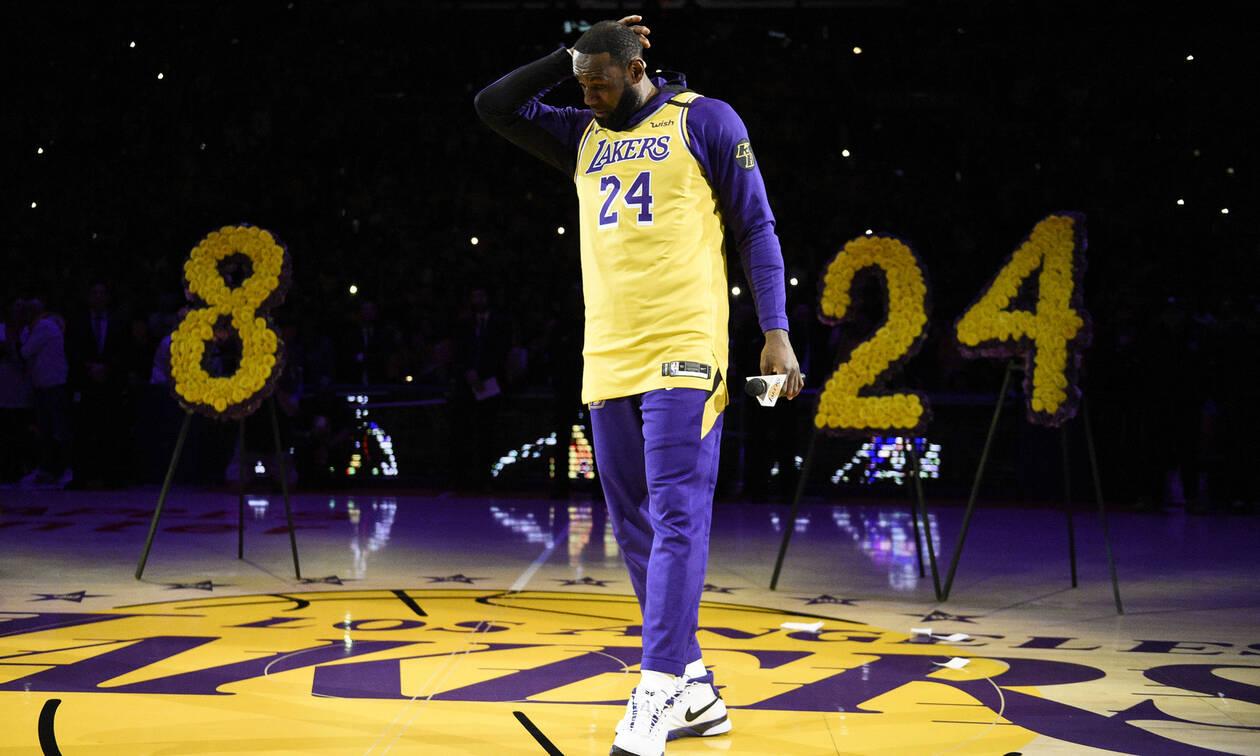 Κόμπι Μπράιαντ: Δάκρυσε το NBA στην τελετή των Λέικερς (photos+vid)