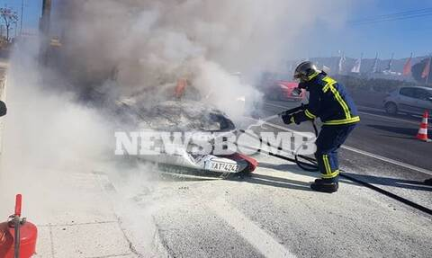 ΤΩΡΑ: Συναγερμός στην Αθηνών - Λαμίας - Φλέγεται αυτοκίνητο
