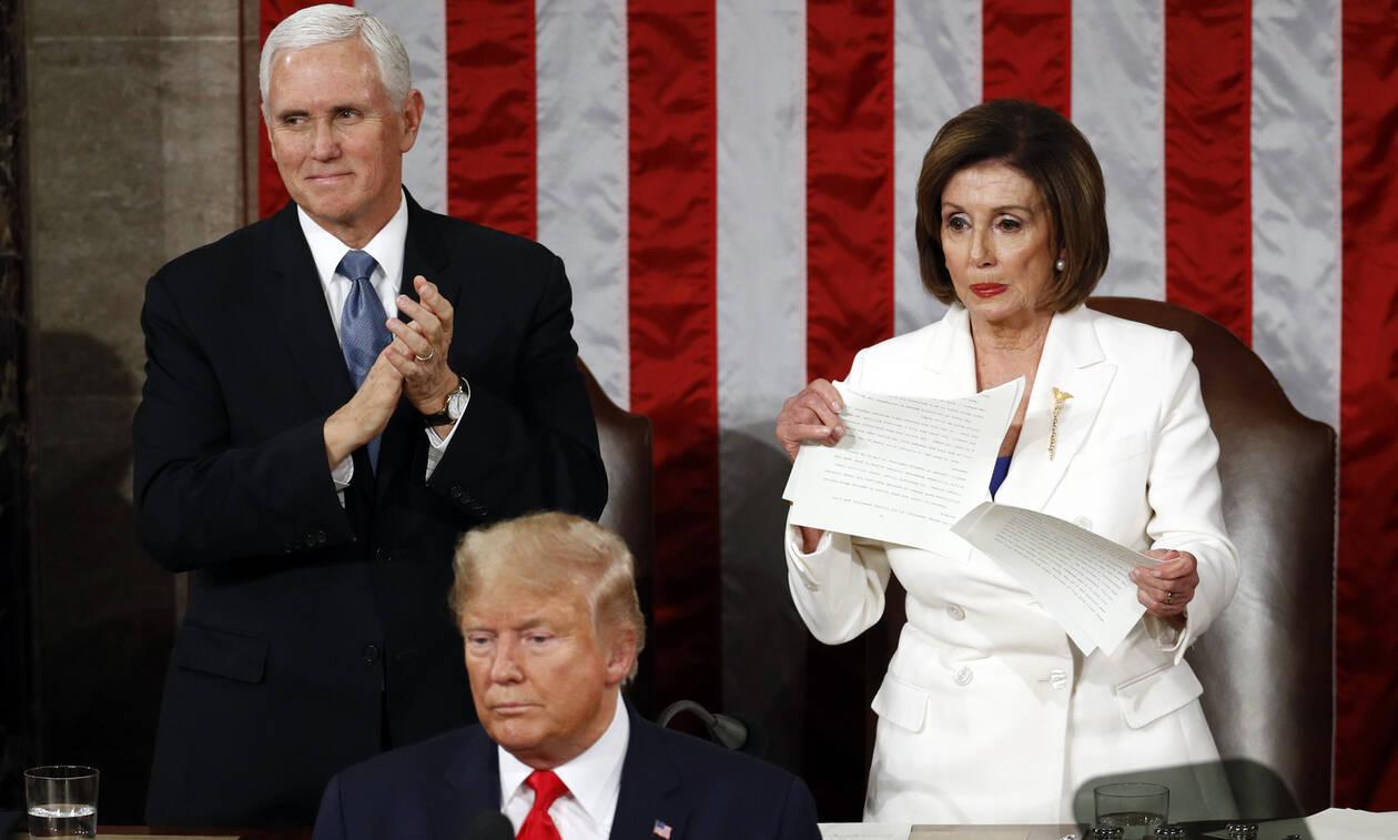 Απίστευτο: Ο Τραμπ δεν χαιρέτησε την Πελόζι και αυτή του έσκισε την ομιλία (vid)
