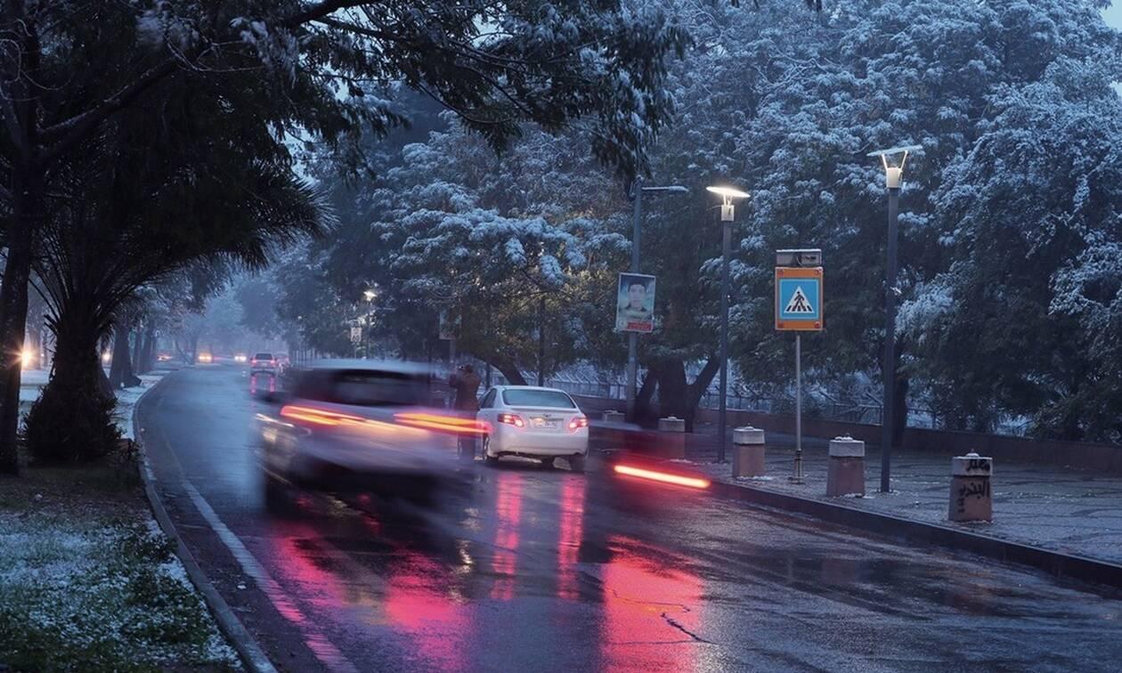 Απίστευτες εικόνες στη Βαγδάτη: Χιόνι για δεύτερη φορά μέσα σε έναν αιώνα