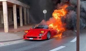 Μία Ferrari F40 λαμπαδιάζει σε δρόμο του Μονακό