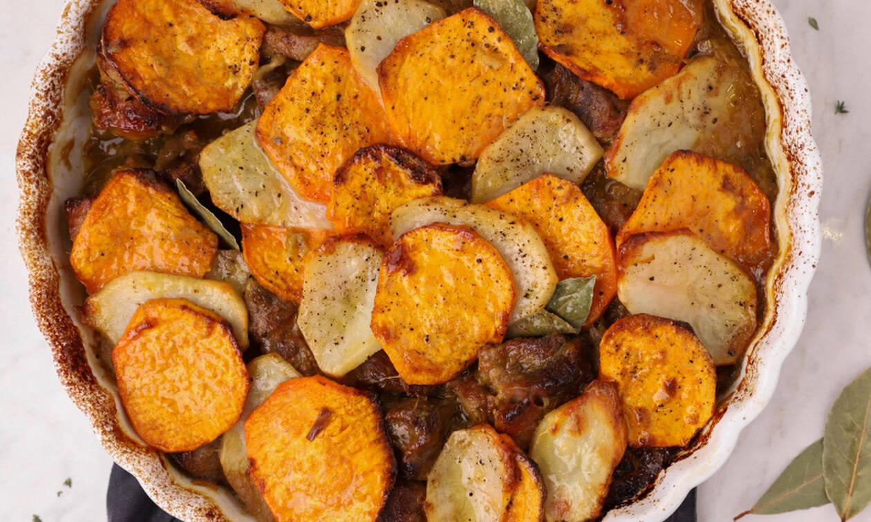 Η συνταγή της ημέρας: Χοιρινό με γλυκοπατάτες στο φούρνο