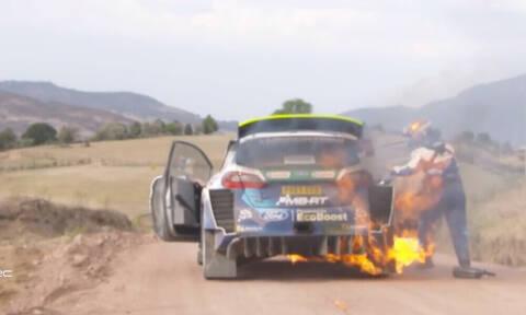 WRC: Φωτιά σε αυτοκίνητο στο Ράλι Μεξικού (photos+video)