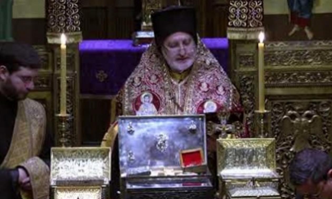 Δέηση του Αρχιεπισκόπου Αμερικής ενώπιον των Αγίων Λειψάνων