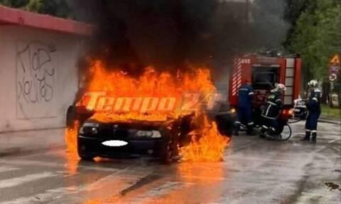 Πάτρα: «Λαμπάδιασε» αυτοκίνητο – Είχαν Άγιο οι επιβάτες (pics)