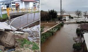 Στο έλεος της κακοκαιρίας η Χαλκιδική: Κατολισθήσεις και πλημμυρισμένα σπίτια (pics+vid)