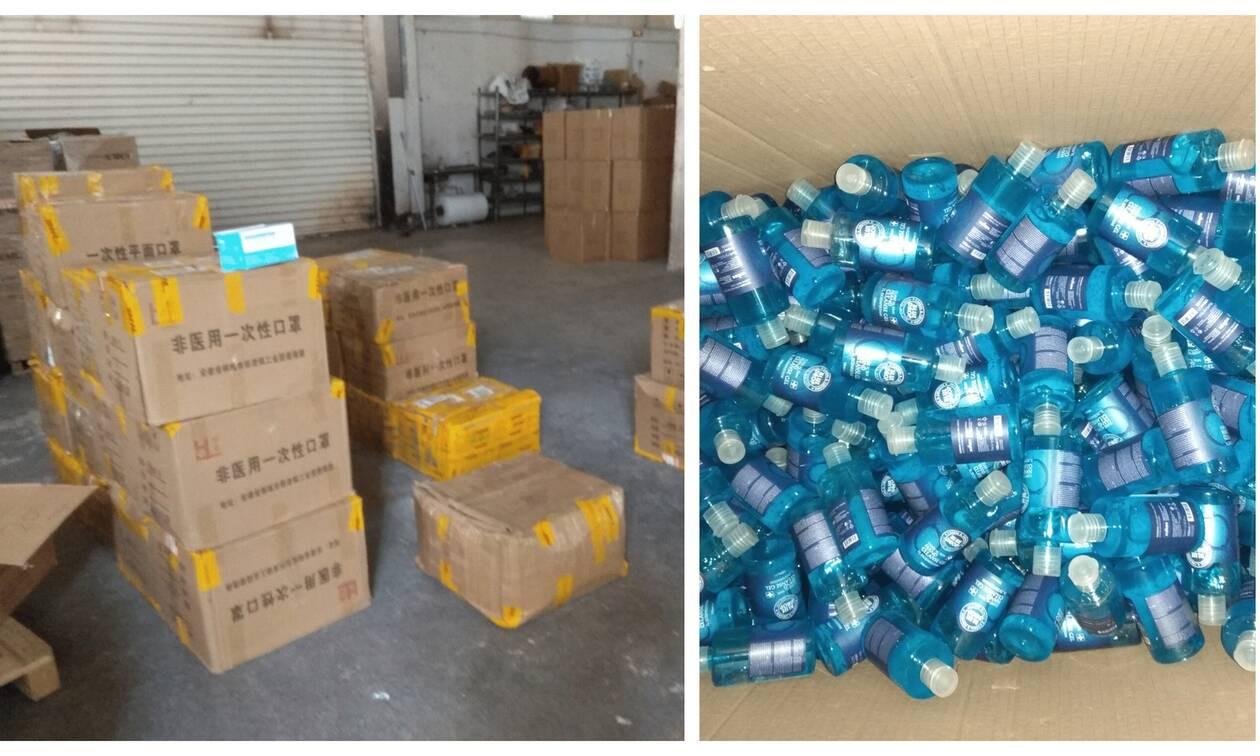 Κορονοϊός - ΣΔΟΕ: Κατασχέθηκαν 4.000 λίτρα «αντισηπτικών» χωρίς άδεια και 2.308 μάσκες (pics)