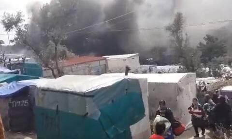Μυτιλήνη: Πυρκαγιά ξέσπασε στο ΚΥΤ της Μόριας