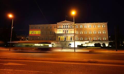 Με τα χρώματα της ισπανικής σημαίας φωταγωγείται η Βουλή: Έκφραση αλληλεγγύης προς τον ισπανικό λαό