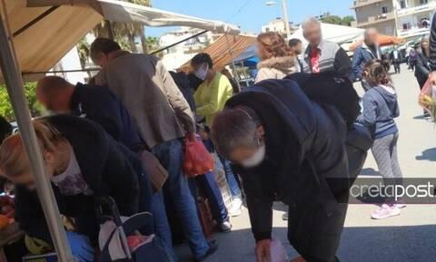 Κορονοϊός - Λαϊκές αγορές: Το αδιαχώρητο στο Ηράκλειο Κρήτης (pics)