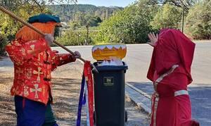 Κορονοϊός: Απίστευτες εικόνες - Δείτε πώς πήγαν να πετάξουν τα σκουπίδια