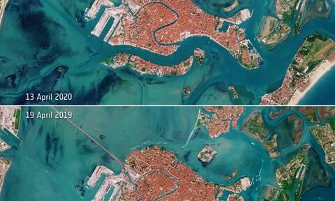 Απίστευτες εικόνες! Άδειασε η Βενετία λόγω κορονοϊού - Οι δορυφορικές λήψεις της NASA (pics)