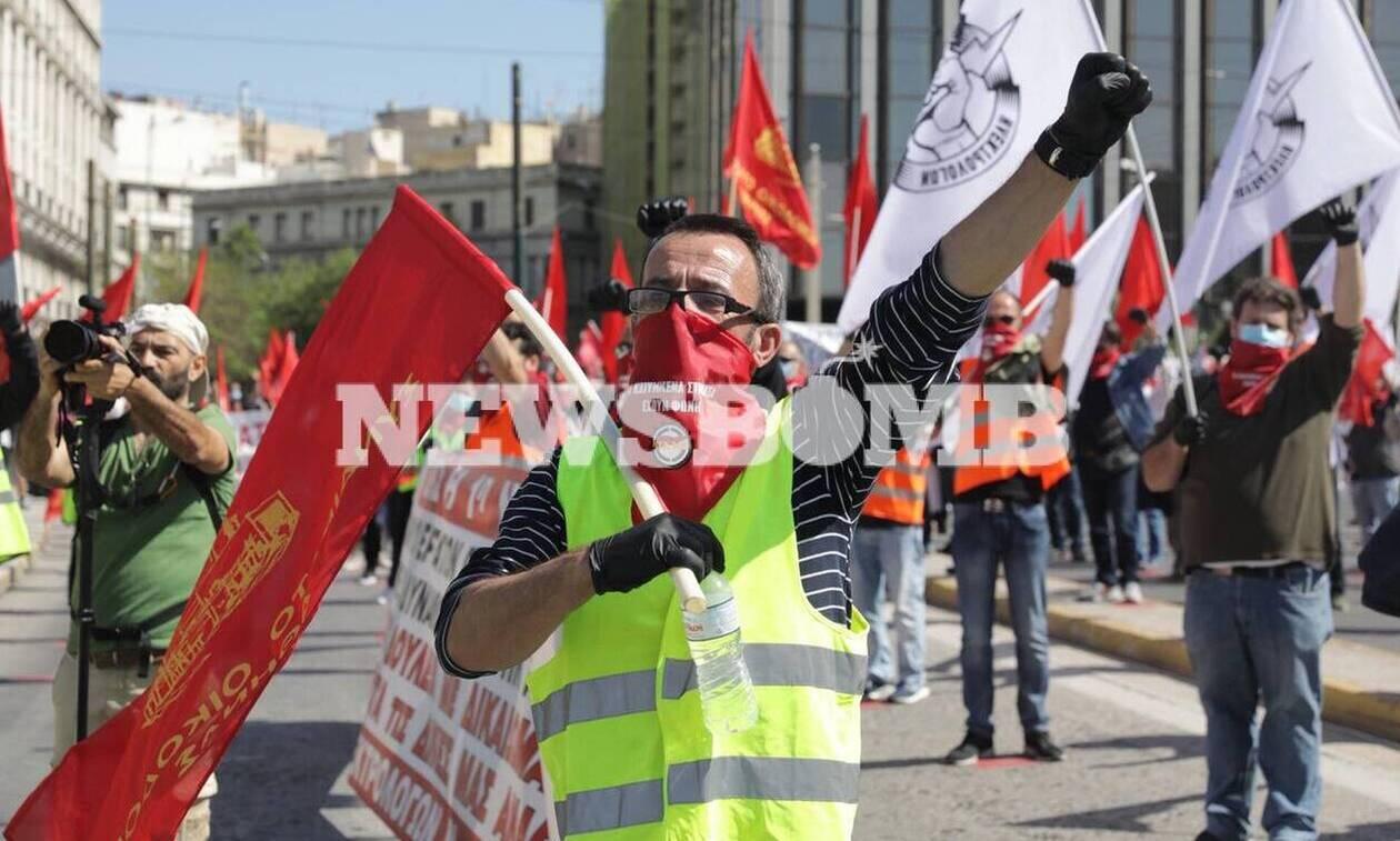 Πρωτομαγιά: Ολοκληρώθηκε η συγκέντρωση του ΠΑΜΕ στο Σύνταγμα - Με μάσκες και μεζούρες οι διαδηλωτές