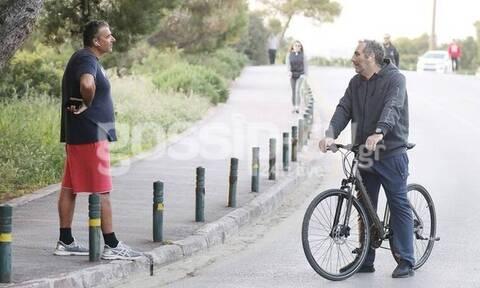 Όταν ο... ιδρωμένος Γιώργος Λιάγκας συνάντησε τον ποδηλάτη Δημήτρη Κοντόπουλο! (Photos)