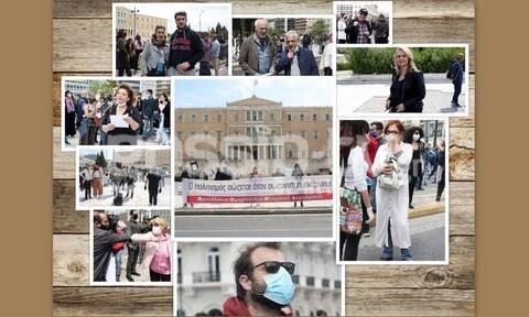 Οι καλλιτέχνες διαδήλωσαν στη Βουλή! Οι Άγριες Μέλισσες, τα πανό και οι... μασκοφόροι! (photos)