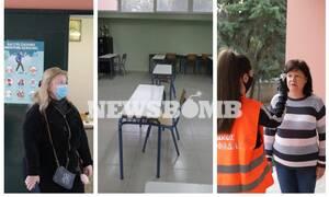 Ρεπορτάζ Newsbomb.gr: Άνοιξαν τα σχολεία - H θερμομέτρηση, τα σημάδια στο προαύλιο και τα φυλλάδια