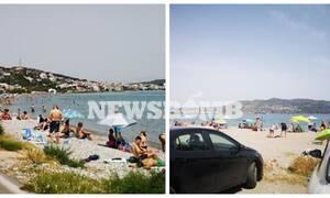 Ρεπορτάζ Newsbomb.gr: Συνωστισμός σε μη οργανωμένη παραλία - Δίπλα δίπλα οι πολίτες κάνουν μπάνιο