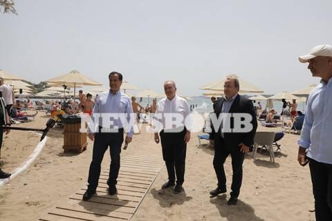 Άρση μέτρων: Αυτοψία Γεωργιάδη στις οργανωμένες παραλίες (vids)