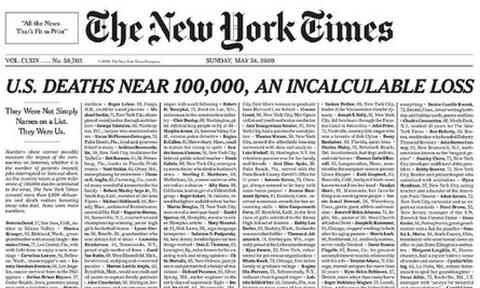 Κορονοϊός: Το συγκλονιστικό πρωτοσέλιδο των New York Times - «Δεν ήταν απλώς ονόματα, ήταν εμείς»