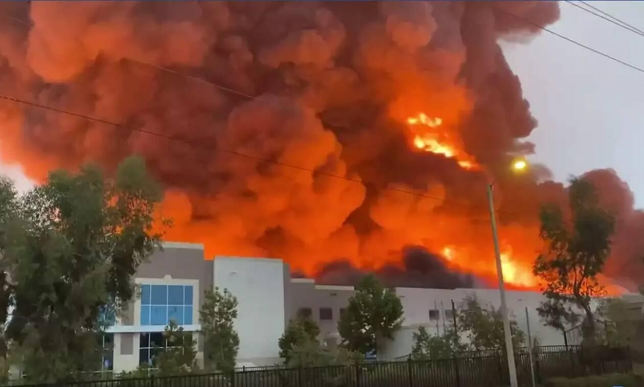Τεράστια πυρκαγιά σε αποθήκη στην Καλιφόρνια - Πιθανόν να ανήκει στην Amazon
