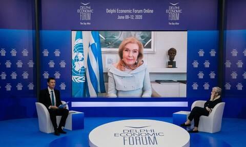 Οικονομικό Φόρουμ Δελφών: Συζήτηση της Μαριάννας Βαρδινογιάννη με την Ελένη Αρβελέρ